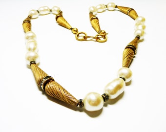 Goldtone Baroque Pearl Necklace - Conical Shaped Beads - Twisted Etched Cones - Rhinestone Rondel Spacer Beads - 1980's Retro Vintage Opera