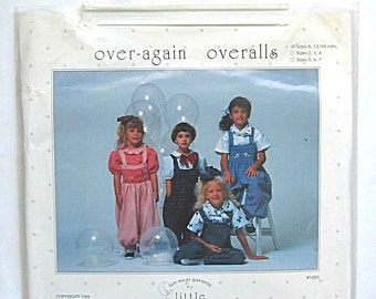 RARE Girls' Over-Again Smocked or Unsmocked Overalls Sewing Pattern Short Sleeve Shirt, Scarf, Little Memories UNCUT Sizes 6 to 18 Months