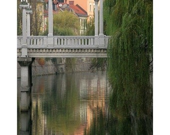 "Fine Art Color Architecture Photography of Bridge in Ljubljana - ""Cobblers Bridge and Morning Reflections"""