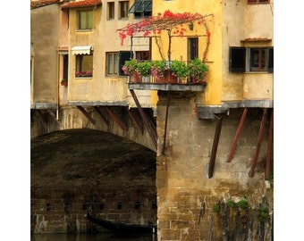 "Fine Art Color Photography of Ponte Vecchio in Florence Italy - ""Ponte Vecchio Balcony and Ivy"""
