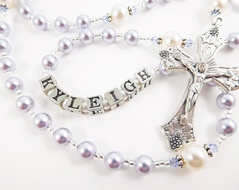 Light Purple and White Swarovski Pearl Personalized Rosary Beads - Baptism, First Communion, Confirmation Catholic Gift for a Girl