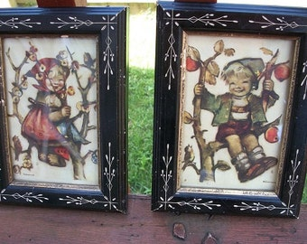 Vintage Antique Wonderful Set of 2 Signed Hummel Pictures with Lovely Etched Wood Eastlake? Frames