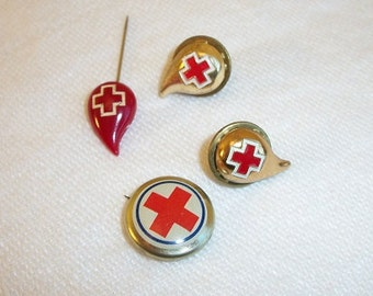 Vintage Set of 4 Red Cross Collectible Pins