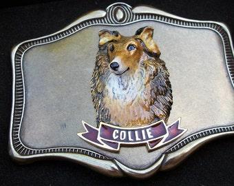 Vintage Beautiful Raintree Brass Tone Dog Belt Buckle 1970s NOS Collie