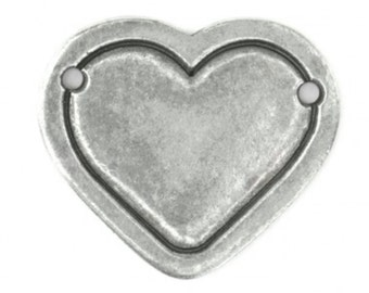 Pewter Stamping Blank-Heart Border with two Holes  Large Impressart-Metal Supply Chick-QTY2-IAD13145