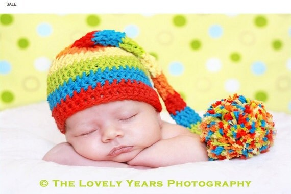 NEW YEARS SALE Rainbow Pom crochet hat, perfect for photos