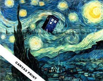 Doctor Who Van Gogh Starry Night TARDIS canvas art 8x10, 16x20, 24x30 TARDIS painting