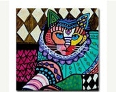55% Off- Cat art Tile Ceramic Coaster Print of painting by Heather Galler