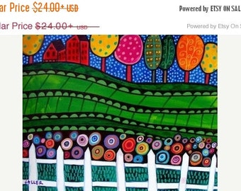 Marked Down 50% - FOLK ART LANDSCAPE Art Poster Print of painting by Heather Galler