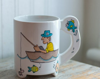 Vintage Fishing Mug, Kitsch Coffee Cup, Novelty Man Gone Fishing, Made in Japan, Gifts for Dad