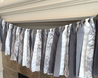 Wedding Bunting, Baby Shower Fabric Banner, Grey Bunting, Wedding Photo Prop, Grey Fabric Banner