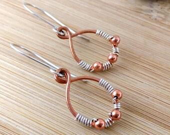 Mixed Metal Earrings Copper Hoops Sterling Silver Oval Earrings Sterling Silver Beaded Hoop Earrings Rustic Earrings Rustic Hoops