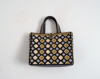 Vintage 70's Handbag Canvas Printed Geometric Grey Mustard White Black