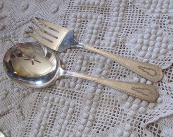 Vintage Silver Plate Large Serving Fork Spoon Set - Beacon Miami Pattern 1931 (12A)