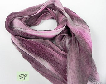 Silk Scarf Magenta Gray, Chiffon Crinkle Scarf, Wrap, Soft Pleated Silk Scarf, Hand dyed Ruffled Scarf, Long Luxury Silk Scarf, Gift for Her