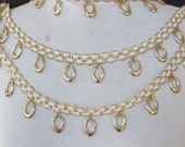 Cute beaded trim white and gold   color  1  yard listing 1.5 inch wide