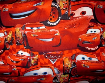 CARS Fabric, 1/2 Yard, Lightning McQueen, disney fabric, pixar fabric, disney cars fabric, red cars fabric, cars cotton fabric, half yard