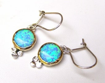 Opal hanging earrings, 14k gold and silver earrings, blue Opal chandelier earrings, Opal earrings, gift for her, Valentine's Day Gift