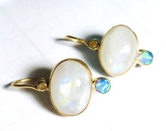 Solid Gold Earrings, Opal earrings ,Moonstone earrings,Gift for her, Dangel ,Anniversary gift, Engagement earrings, Gift idea for women