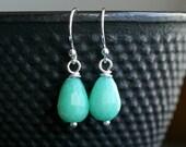 Small aqua green teardrop earrings, dyed jade stone, sterling silver, drop earrings, dangle, Mimi Michele Jewelry