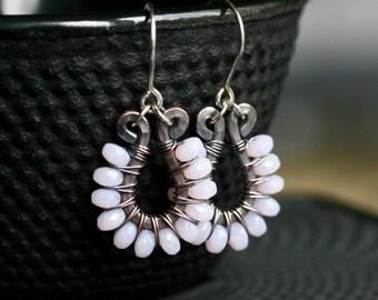 Pink beaded dangle earrings, oxidized copper, Czech glass, wire wrapped drop earrings, dangle, pink earrings, Mimi Michele Jewelry