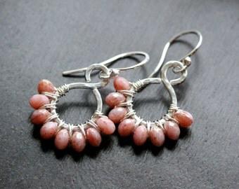 Pink Czech glass earrings, beaded hoop, wire wrapped earrings, sterling silver, dangle, drop, hammered, Mimi Michele Jewelry