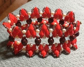 PATTERN Diamond Points cuff bracelet Tutorial Diamond Duo beads