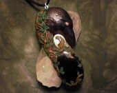 RESERVED FOR REBECCA - Crow Moon Fire - Jet and Opal Amulet (Price reduced for final payment)