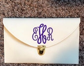 monogramed envelope clutch purse. monogram. personalized. clutch purse.