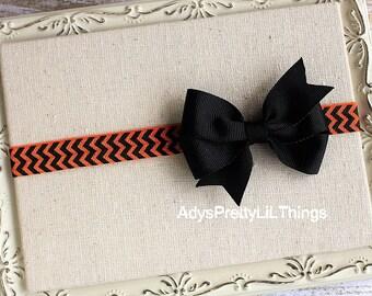 Halloween Headband Orange Headband Chevron Bow Headbands Orange Headband Baby Bows Girls Headband Hair Accessories