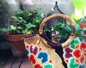 Obi / Obi Bag / Kimono Bag / BR913 Gorgeous Flower And Fan Embroidery Obi Granny Bag Medium Size