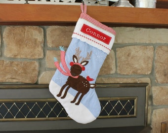 Reindeer With Scarf --- Christmas Stocking with Monogram Pottery Barn Blue Quilted Stocking --- Free Monogram