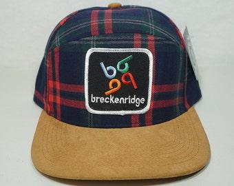 Breckenridge Vintage Patch New Snapback Hat - Plaid 6 Panel Hybrid - Colorado Hat