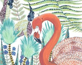 Tropical Flamingo Print