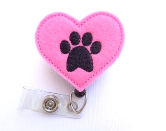 Badge holder retractable - Love paw - Pink felt heart with paw print - nurse badge reel veterinarian animal rescue dog lover vet tech