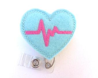Retractable badge holder - nurse badge holder - Heartbeat EKG aqua felt with hot pink - Nurse badge reel medical badge reel