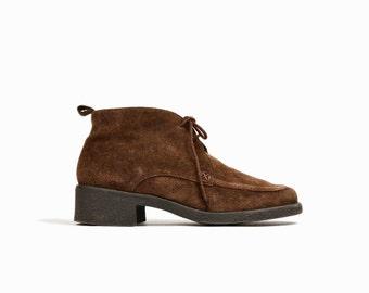 sale - Vintage Brown Suede Chukka Boots / Moc Toe Desert Boots - women's 9.5