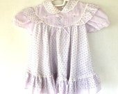 lavender rosebud 80s vintage baby girl dress short sleeve infant 24 months ruffle and lace dress