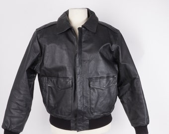 Black Leather Bomber Jacket 90s Vintage Men's Cropped Jacket M 46