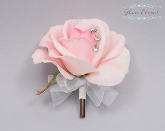Blush Pink Rose Pin On Corsage. Real Touch Flowers. Caroline Rose Collection
