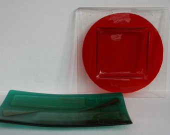 Mid Century Art Glass Platters Pop Art Ashtrays Plates