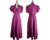1930s to 1940s Pink Taffeta Dress with Matching Cropped Trapunto Stitched Jacket