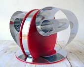 Chrome and Red Coil Bookends - Art Deco Machine Age Style - Letter Holder Double Coiled Bookend