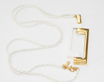 Vintage Monet White Enameled and Gold Pendant and Necklace