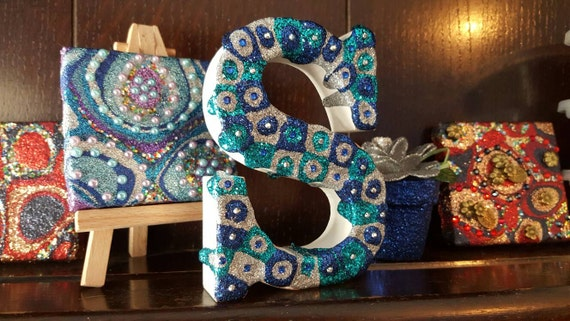 Freestanding letter s blue silver and teal glitter and for Silver letters freestanding