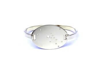 Taurus High Polished Raw Brass Zodiac Constellation Oval Bracelet
