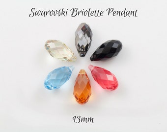 2 Swarovski Briolette Pendants 12mm - pick your colour
