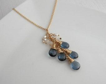 Navy Quartz and Moonstone Lariat Necklace