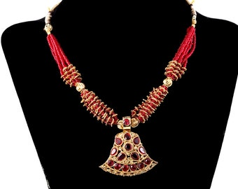 INDIAN BRIDAL NECKLACE Red Rhinestone Bollywood Garnet Colored Gold Tone Metal Adjustable Bellydance Headpiece