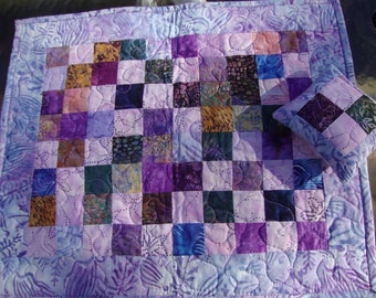 CUSTOM ORDER Doll Quilt with Pillow Table Topper